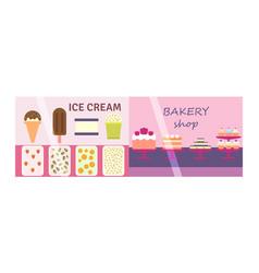 flat design showcase restaurant shop facade icon vector image vector image