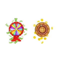 flat wheel of fortune roulette wheel vector image vector image