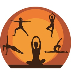 Yoga women silhouette vector image