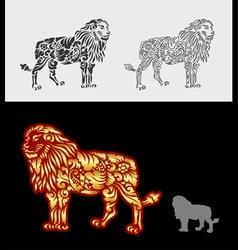 Lion floral ornament decoration vector image vector image
