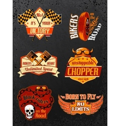 Motorcycle bike badges set vector image