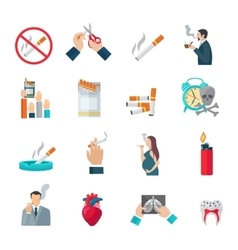 Smoking Flat Icons Set vector image vector image