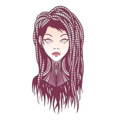 Stylish girl with dreadlocks tattoo and piercing vector image