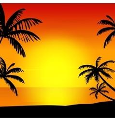 Sunset on island vector image