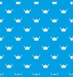 viking helmet pattern seamless blue vector image