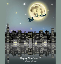 happy new year card with reindeer flying over city vector image