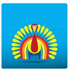 Multi-colored turkey-cock in the form of a rainbow vector image