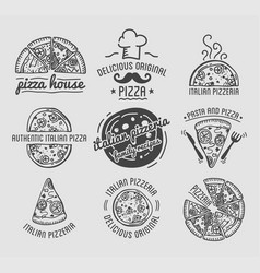 pizza icons set templates for fast food or vector image vector image