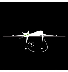 relax white cat on black for your design vector image