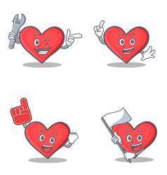 Set of heart character with mechanic foam finger vector