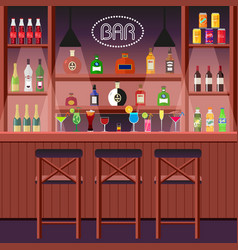 bar pub or night club bar counter with alcoholic vector image vector image