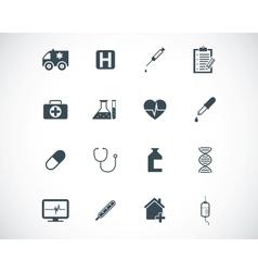 black medical icons set vector image