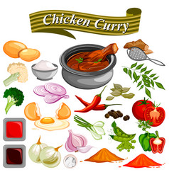 ingredient for indian chicken curry recipe with vector image vector image