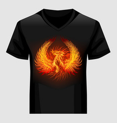 shirt template with phoenix in flame vector image