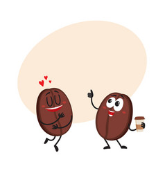 two funny coffee bean characters showing love vector image vector image