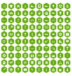 100 school years icons hexagon green vector image
