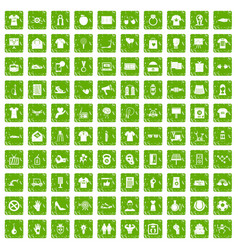 100 t-shirt icons set grunge green vector image