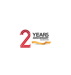 2 years anniversary template with red color vector