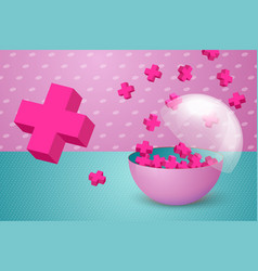 3d realistic transparent half cut ball vector