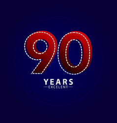 90 years excellent anniversary celebration red vector