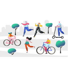 active people outdoor in the park characters vector image