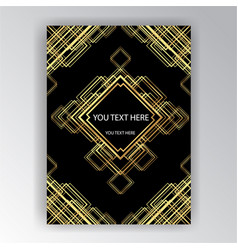 Art deco template golden-black a4 page menu vector