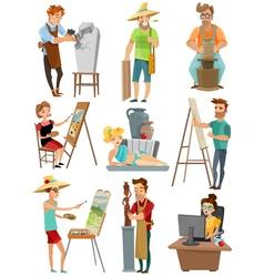 Artist Cartoon Set vector
