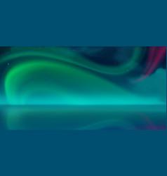 aurora borealis northern lights in night sky vector image