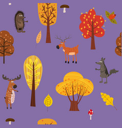 autumn forest cute animals seamless pattern with vector image