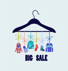 Background of Hanger with fashion winter clothing vector