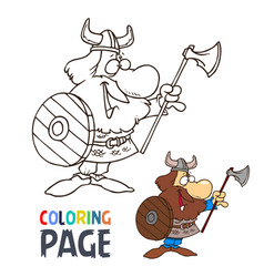 barbarian cartoon coloring page vector image
