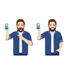 Big man showing phone vector