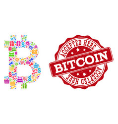 bitcoin composition of mosaic and scratched seal vector image