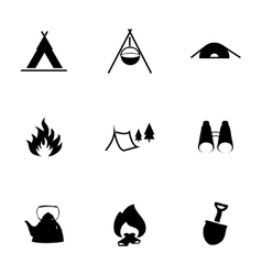 black camping icons set vector image