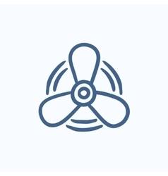 Boat propeller sketch icon vector