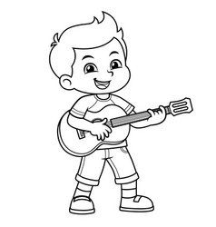 boy practicing music with his guitar bw vector image