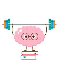 Cartoon brain lifting barbell make books vector