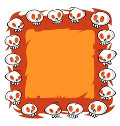 Cartoon Skulls Square Frame on White Background vector image