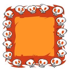Cartoon Skulls Square Frame on White Background vector