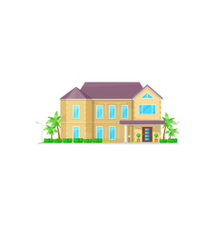 Chalet cottage house in tropic country palm trees vector
