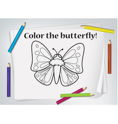 Children butterfly coloring worksheet vector
