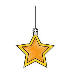 christmas star decorative icon vector image