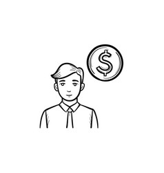 circle coin hand drawn sketch icon vector image