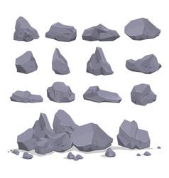 collection gray cartoon rock stone flat vector image