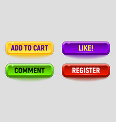 colorful button set vector image