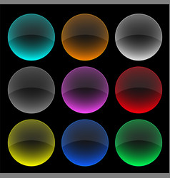 Colorful circle glass buttons or banners set vector
