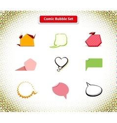 Comic Bubble Set Icon Flat Style Design vector image