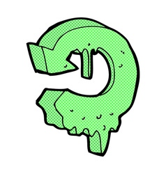 Comic cartoon melting recycling symbol vector