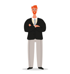 Confident smiling businessman is standing with vector