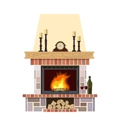 Cozy flaming fireplace vector